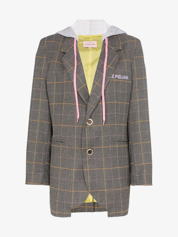 Natasha Zinko hooded check blazer in grey