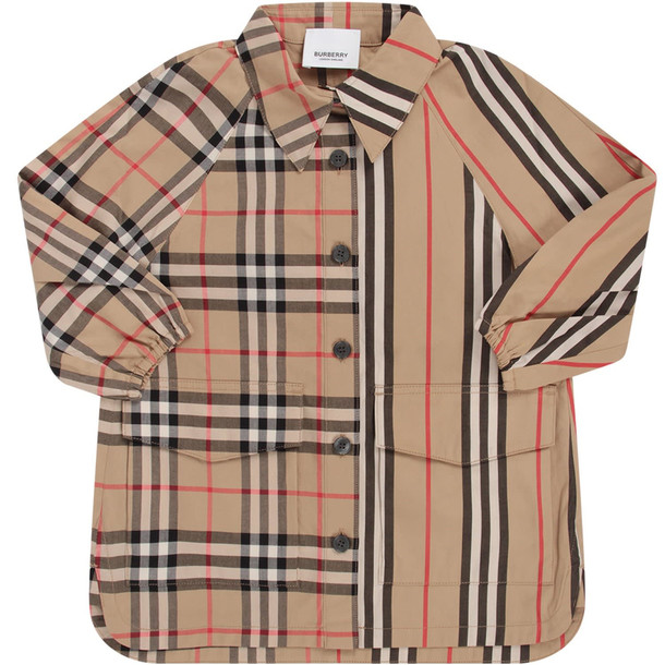 Burberry Biege Babygirl Dress With Iconic Check And Stripe in beige