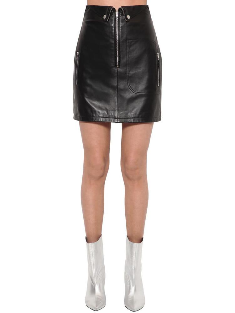 ANNAKIKI High Waist Leather Mini Skirt in black