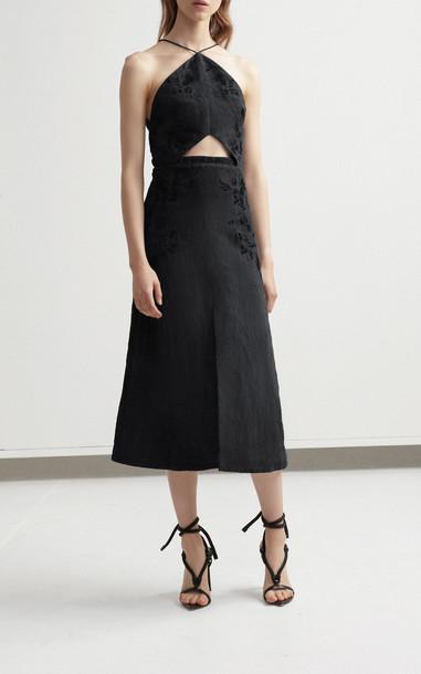 Acler Vallen Halter Linen Midi Dress Size: 6 in black