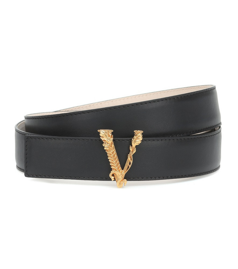 Versace Virtus leather belt in black
