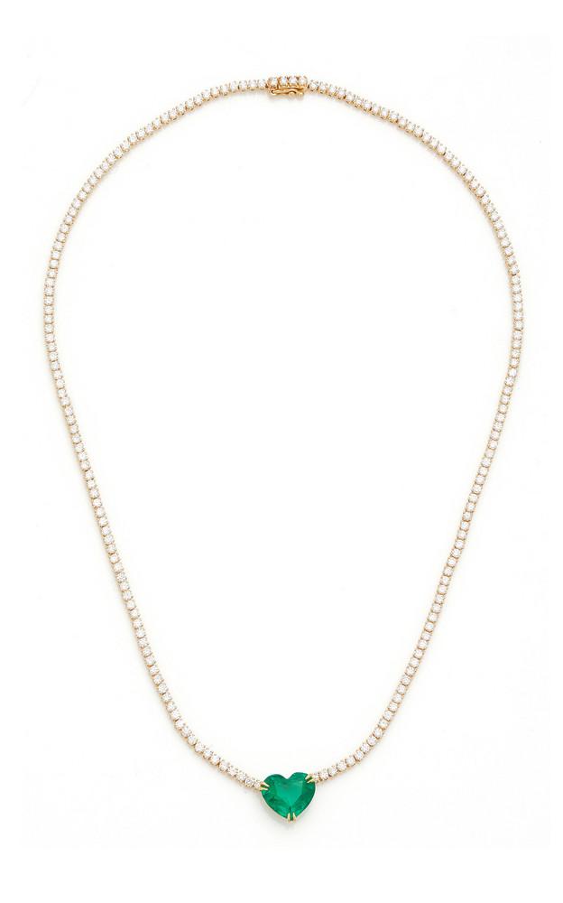 Anita Ko Hepburn Heart-Shaped Emerald Necklace in green