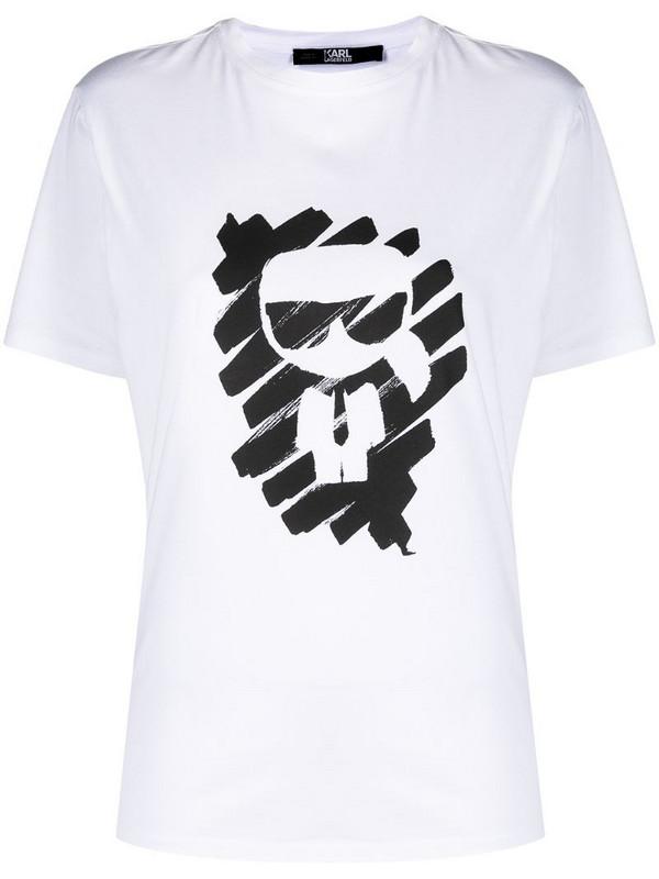 Karl Lagerfeld Ikonik Graffiti cotton T-Shirt in white
