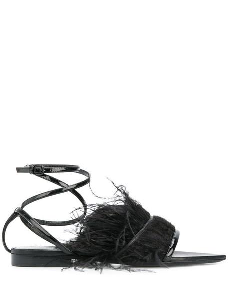 Saint Laurent feather trim ankle strap sandals in black