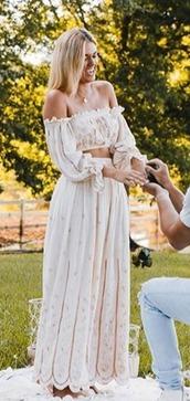 pants,top,off the shoulder top,flowy pants,flowy skirt,flowers,cream,neutral colors,crop tops