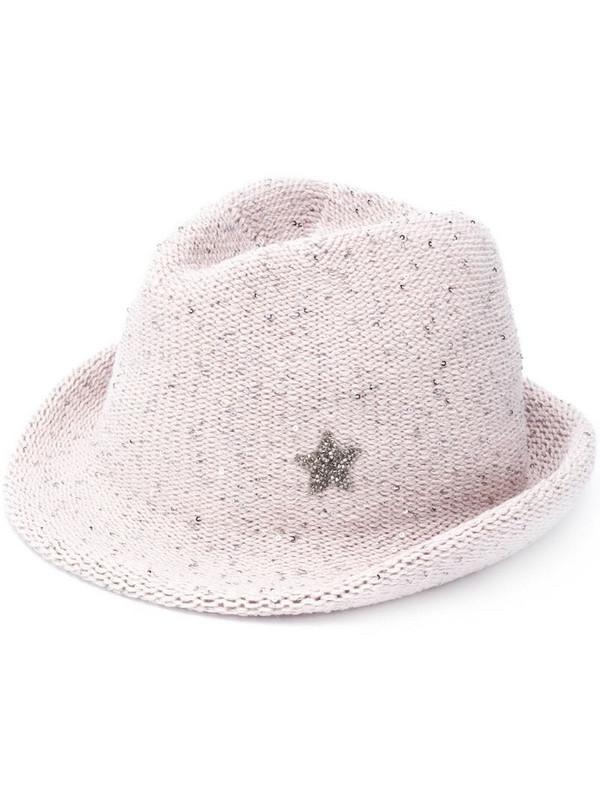 Lorena Antoniazzi crystal-embellished wool hat in grey