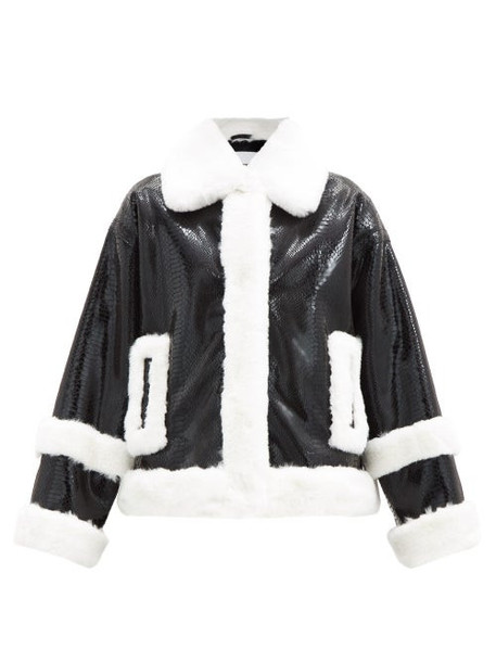 Stand Studio - Hester Snake-effect Faux-leather And Fur Jacket - Womens - Black White