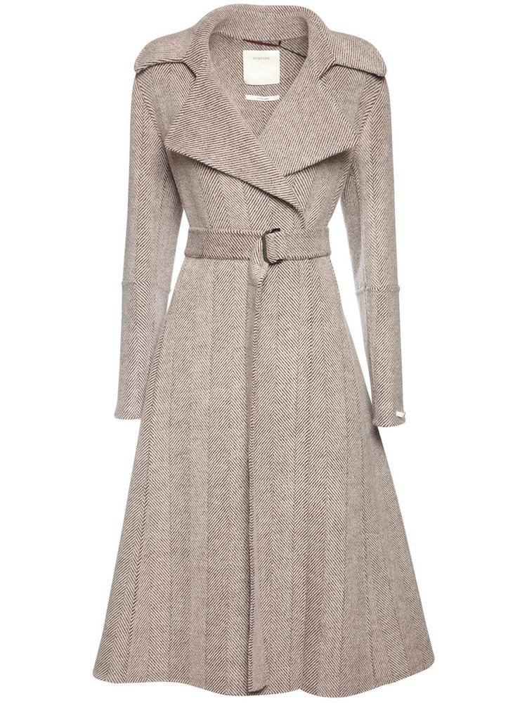 SPORTMAX Chevron Wool Belted Coat in beige