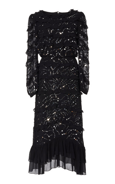 Saloni Isa D Sparkle Brocade Dress in black