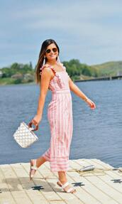 to be bright,blogger,jumpsuit,shoes,sunglasses,jewels,bag,summer outfits,beach,sandals