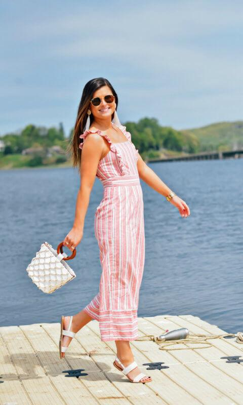 to be bright blogger jumpsuit shoes sunglasses jewels bag summer outfits beach sandals