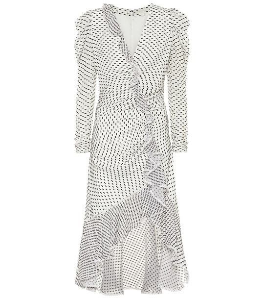 Jonathan Simkhai Ruffled silk blend midi dress in white