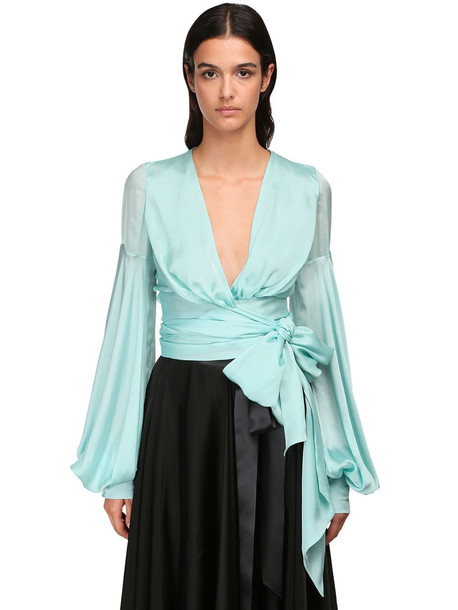 ALEXANDRE VAUTHIER Wrapped Chiffon Satin Crop Blouse in mint