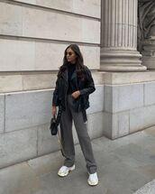 pants,grey pants,straight pants,zara,white sneakers,black leather jacket,turtleneck,black bag