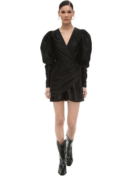 ROTATE Puffed Sleeves Wrapped Nylon Mini Dress in black