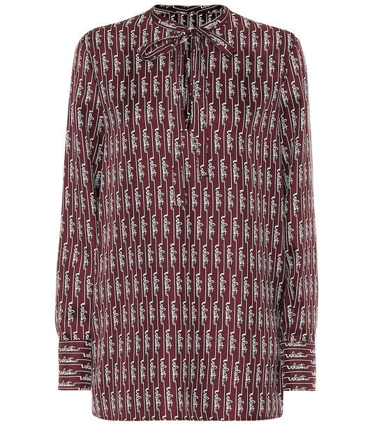 Valentino Logo silk blouse in red