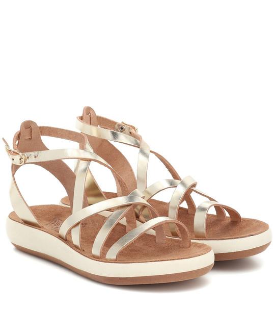 Ancient Greek Sandals Delia Comfort leather sandals in metallic