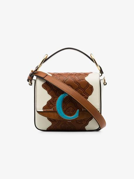 Chloé Chloé brown C logo-embossed patchwork leather shoulder bag