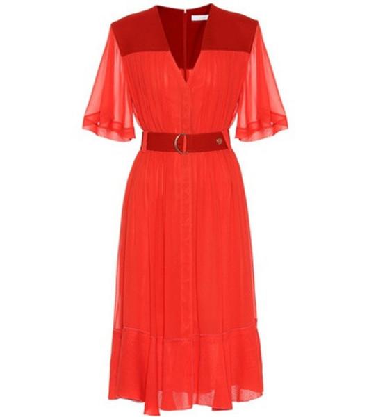 Chloé Silk-blend crêpe midi dress in red