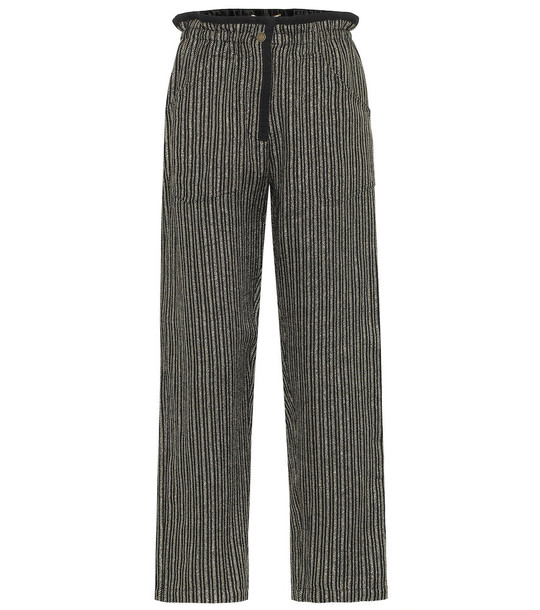 Saint Laurent Striped metallic pants in black