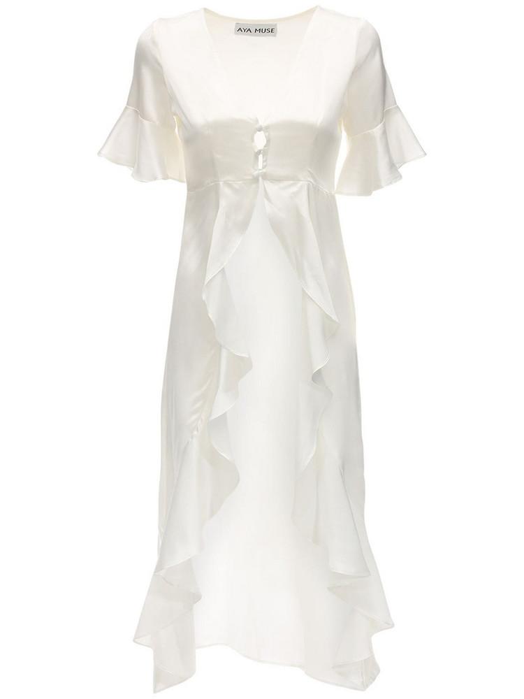 AYA MUSE Nyx Satin Highlow Shirt in white