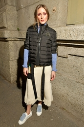 skirt,olivia palermo,blogger,jacket,midi skirt,top,sweater,turtleneck