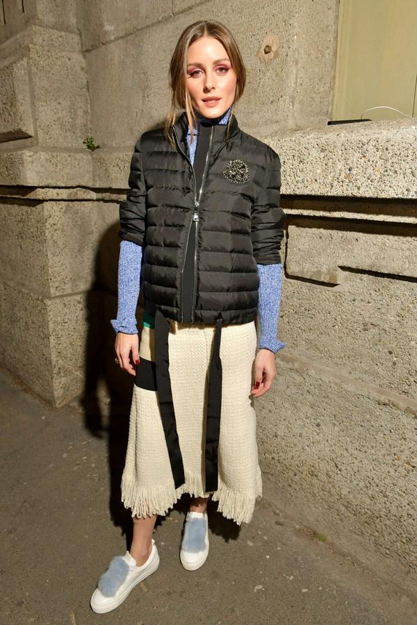 skirt olivia palermo blogger jacket midi skirt top sweater turtleneck