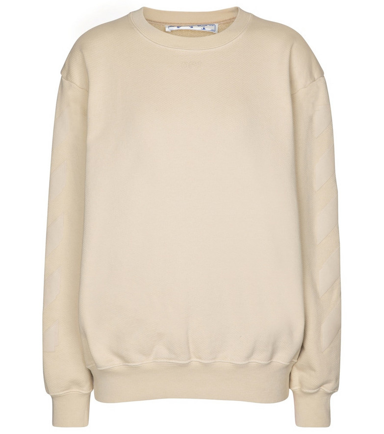 Off-White Logo cotton jersey sweatshirt in beige