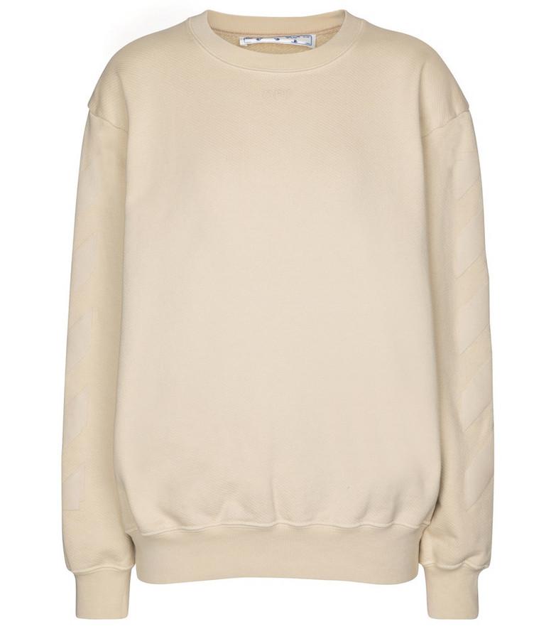 Off-White Logo cotton jersey sweatshirt in beige