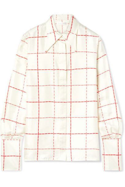 Victoria Beckham - Checked Silk-satin Shirt - Ivory