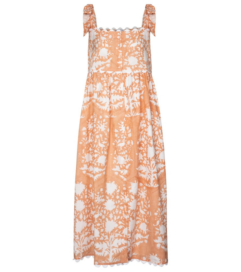 Juliet Dunn Printed cotton midi dress in pink