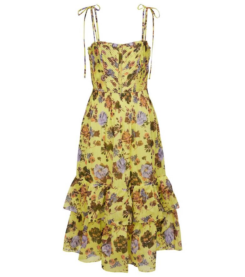 Ulla Johnson Loraine floral cotton-blend midi dress in yellow
