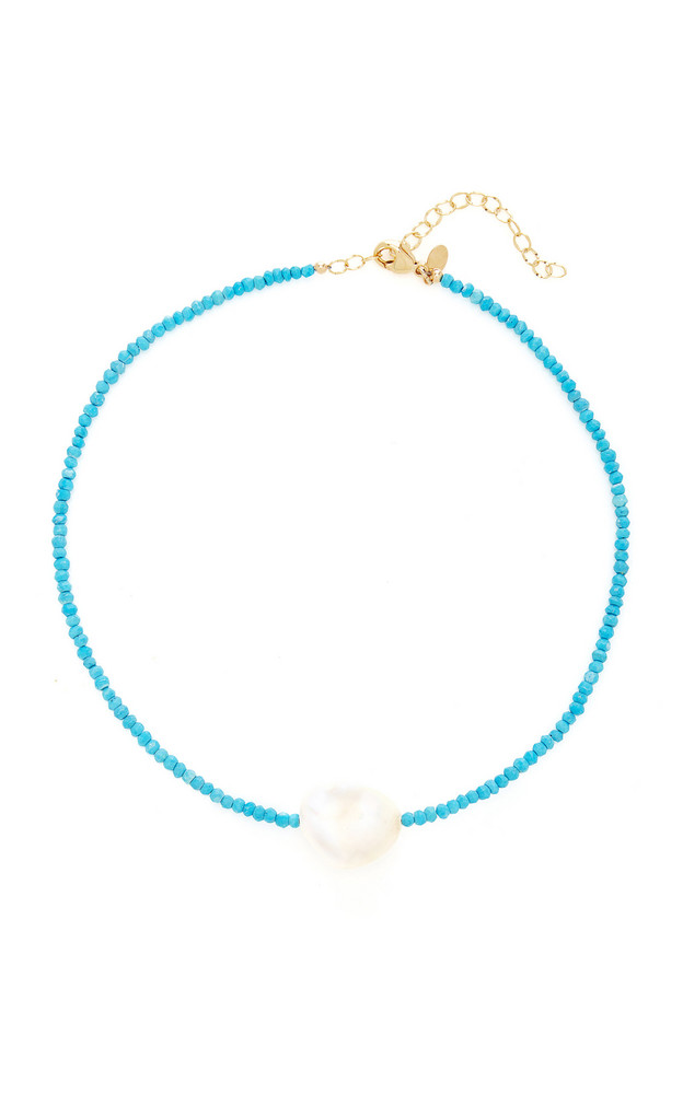 Joie DiGiovanni Gold-Filled, Turquoise and Pearl Necklace in blue