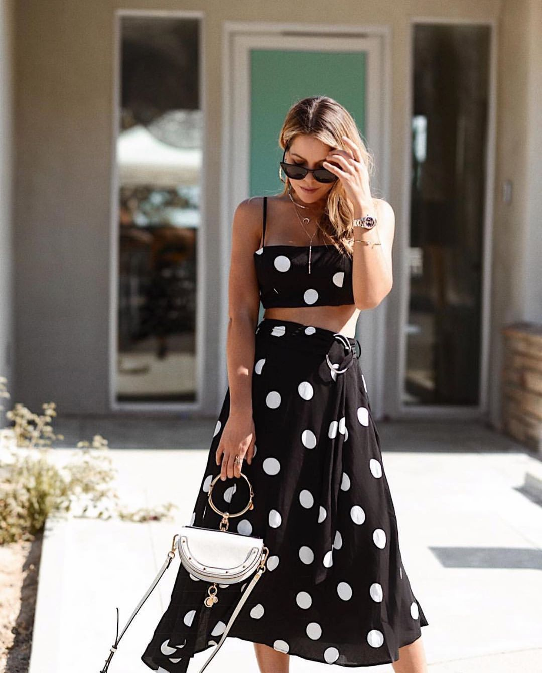 skirt midi skirt black skirt polka dots wrap skirt black top crop tops handbag