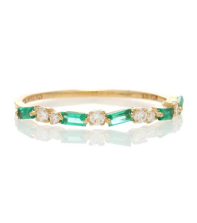 Suzanne Kalan 18kt gold ring with emeralds and diamonds