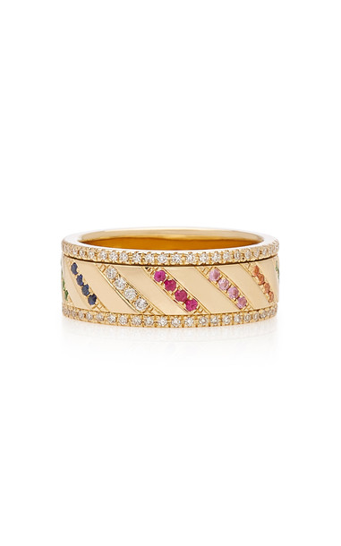 EF Collection 14k Multi Diamond Rainbow Slash Spinning Ring in gold