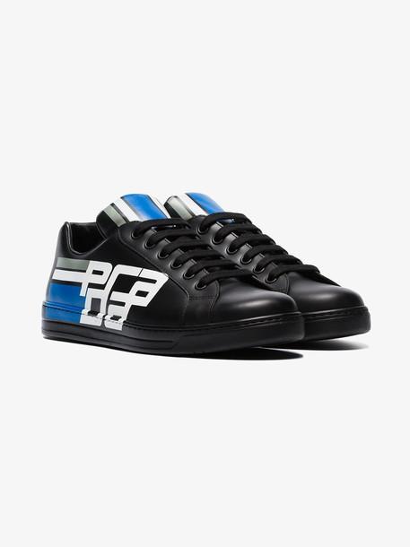 Prada black Avenue leather low top sneakers