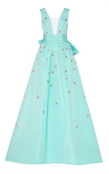 Monique Lhuillier Embroidered Faille Sleeveless Deep V Neck Ball Gown in blue