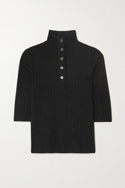 Vince - Ribbed-knit Top - Black