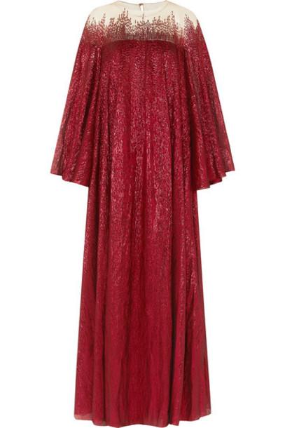 Oscar de la Renta - Embellished Silk-blend Tulle And Lamé Gown - Red