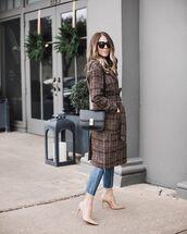 coat,oversized coat,plaid,pumps,cropped jeans,black bag,shoulder bag,sunglasses