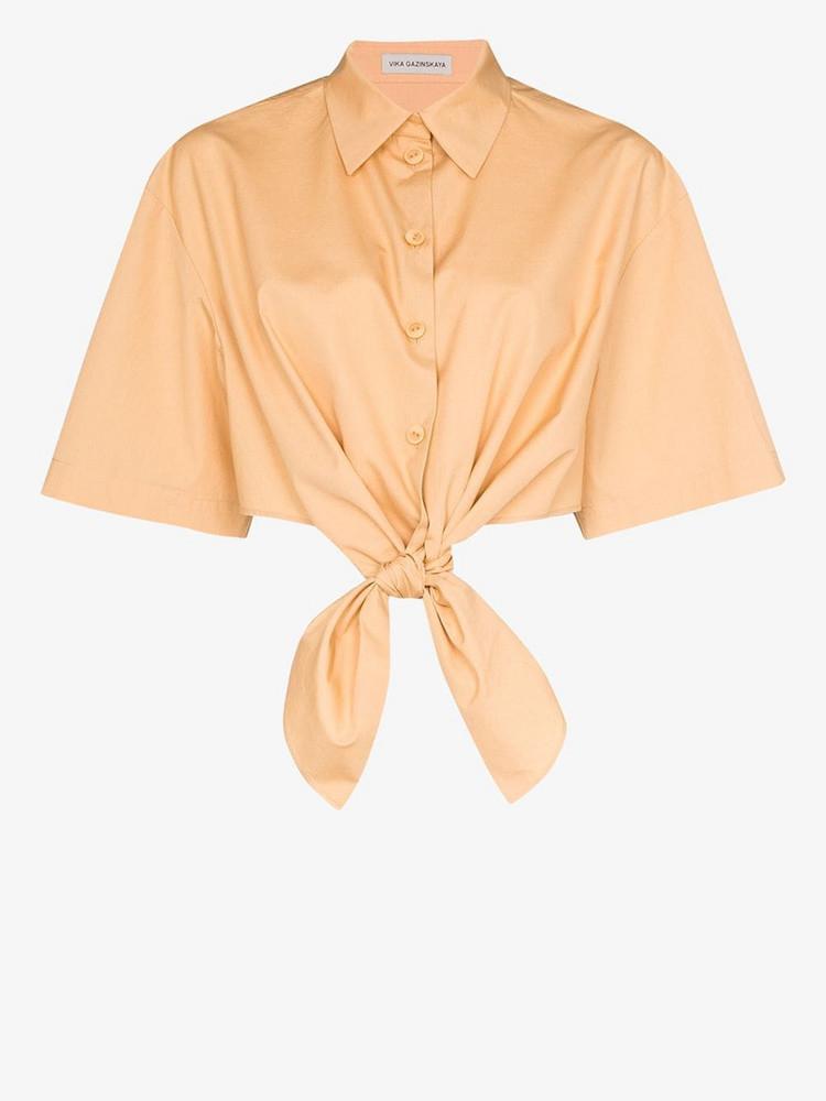 Vika Gazinskaya tie front cotton shirt in brown