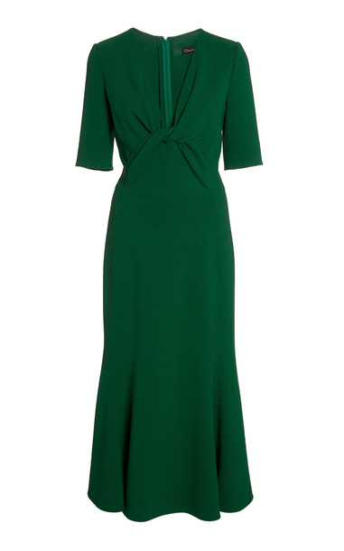 Oscar de la Renta Knot-Accent Midi Dress in black