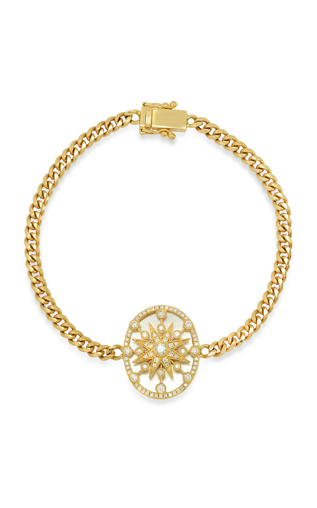 Colette Jewelry Star Cage 18k Yellow-Gold, Diamond and Pearl Bracelet in white