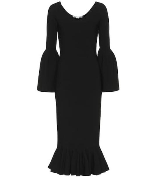 Stella McCartney Ribbed-knit midi dress in black