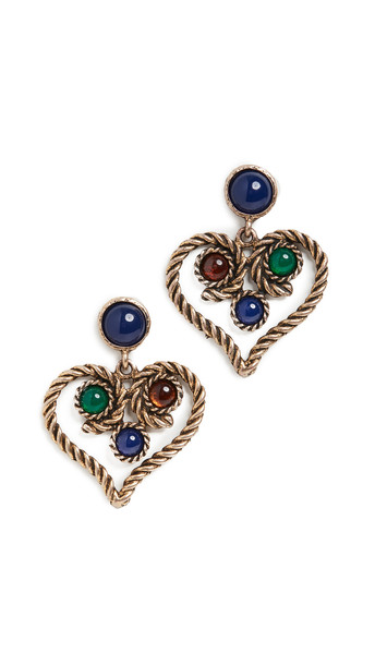 Kenneth Jay Lane Antique Gold with Lapis Top Earrings in multi