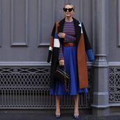 coat,pumps,midi skirt,blue skirt,belt,knitted sweater,stripes,bag