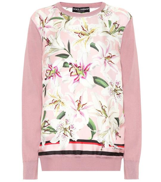 Dolce & Gabbana Floral silk sweater in pink