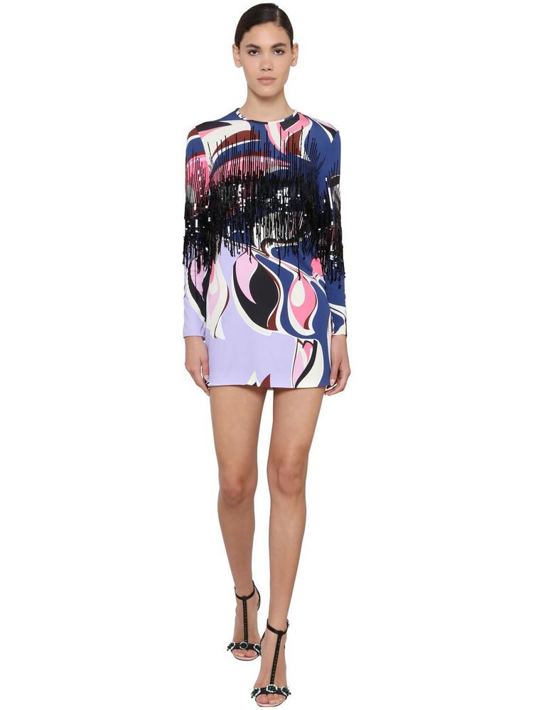 EMILIO PUCCI Printed Jersey Mini Dress W/ Fringe