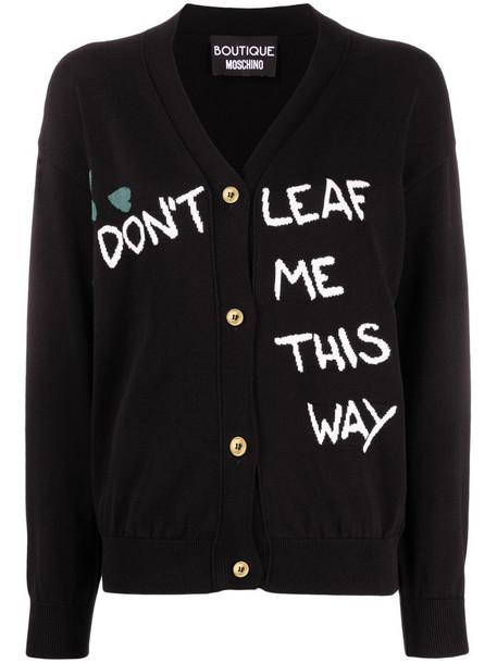 Boutique Moschino slogan-knit cardigan in black
